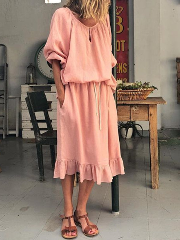 Pink Round Neck Long Sleeve Dresses