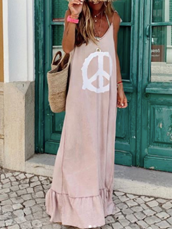 Light Pink Patchwork Sleeveless Cotton-Blend Dresses