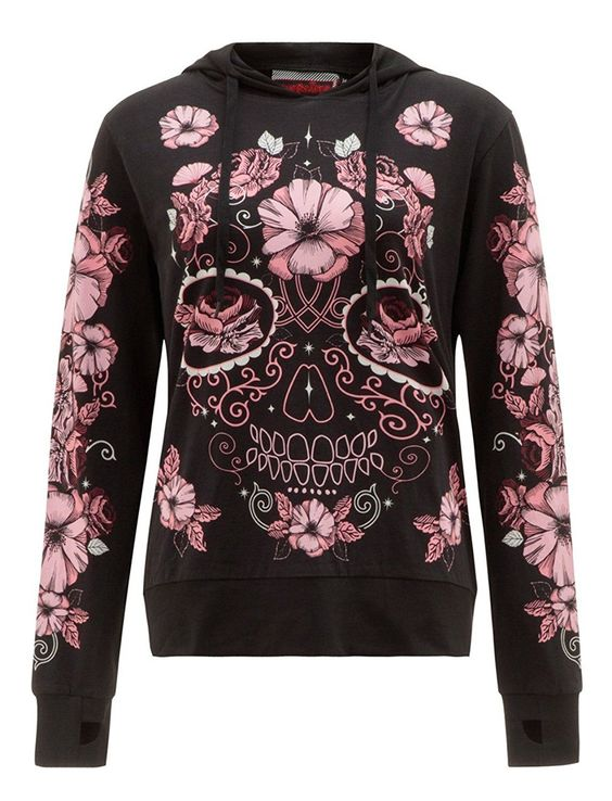 Punk plus size Long Sleeve Hoodie Shirts & Tops