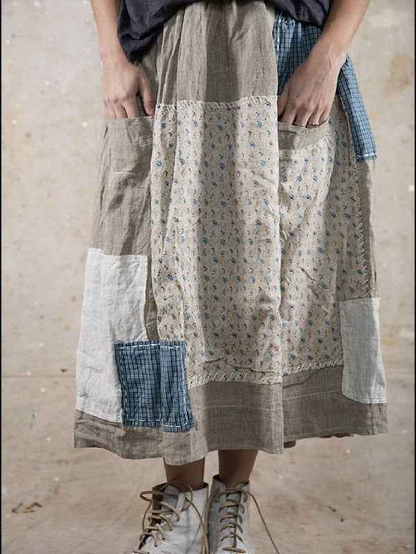 Gray Cotton-Blend Patchwork Printed Casual Skirts