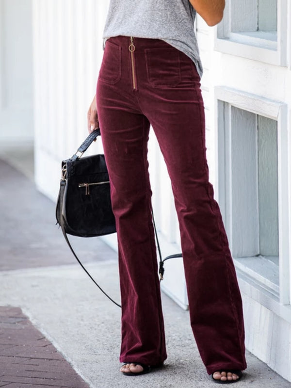 Wine Red Vintage Velvet Zipper Solid plus size Pants