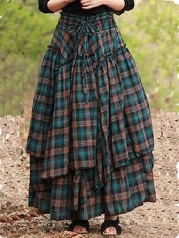 Blue Asymmetric Cotton-Blend Checkered/plaid Vintage Skirts