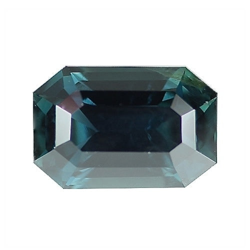 4.25 ct Blue Green Emerald Cut Natural Unheated Sapphire