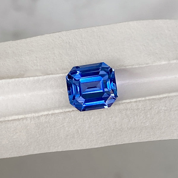 1.56 ct Cornflower Blue Sapphire Emerald Cut Unheated Ceylon