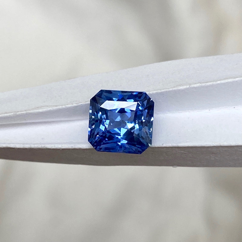 2.99 ct Cornflower Blue Sapphire Square Radiant Cut Unheated Ceylon