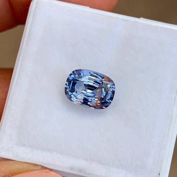 2.20 ct Steel Blue Cushion Unheated Sapphire Natural Certified