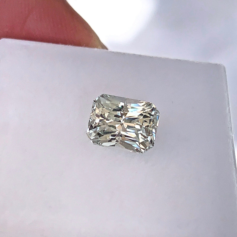 2.14 ct Mint Green Emerald Cut Unheated Certified