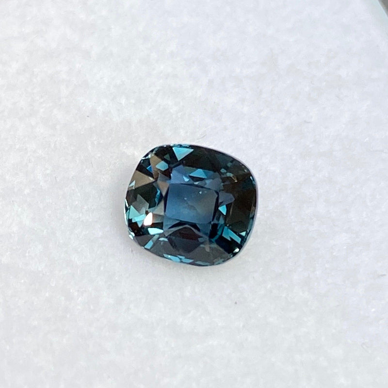 2.19 ct Cushion Cut Bluish Green Sapphire Certified Unheated