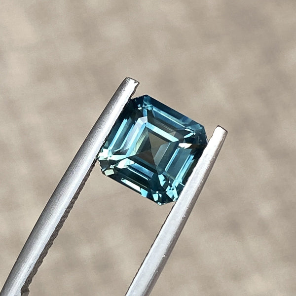 3.07 ct Square Emerald Cut Bluish Green Sapphire Certified Unheated