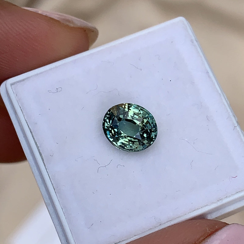 2.06 ct Bluish Green Oval Natural  Certified Unheated Sapphire