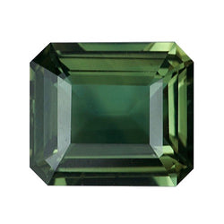 2.07 ct Olive Emerald Cut Natural  Unheated Sapphire