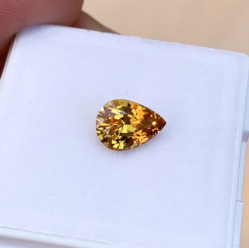 1.18 ct Honey Yellow Pear Natural Sapphire Unheated Certified