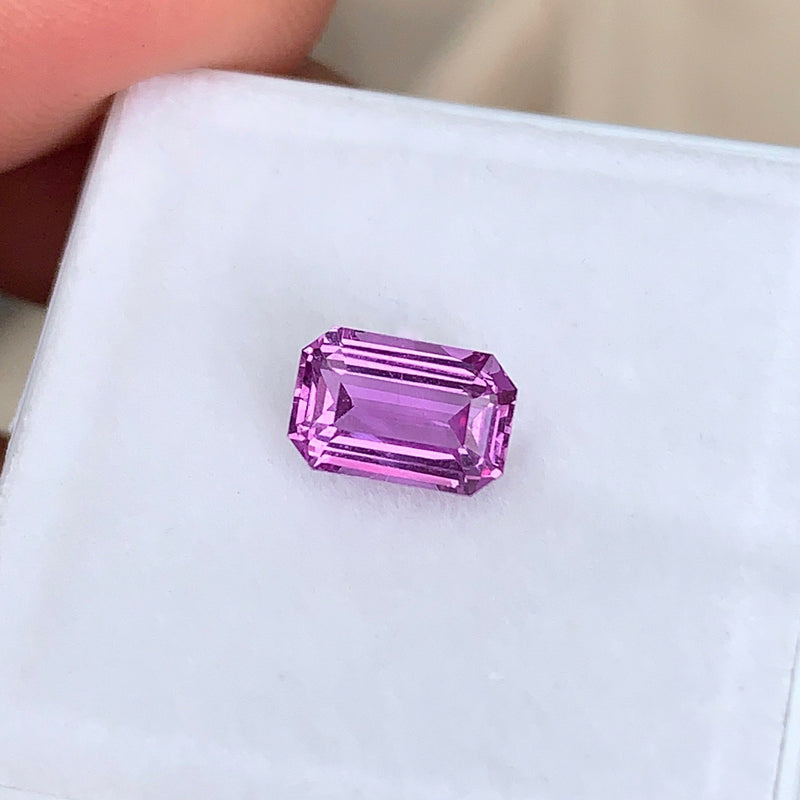 1.51 ct Pink Sapphire Emerald Cut Unheated