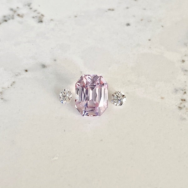 Emerald Cut Pink Sapphire with 3mm diamonds