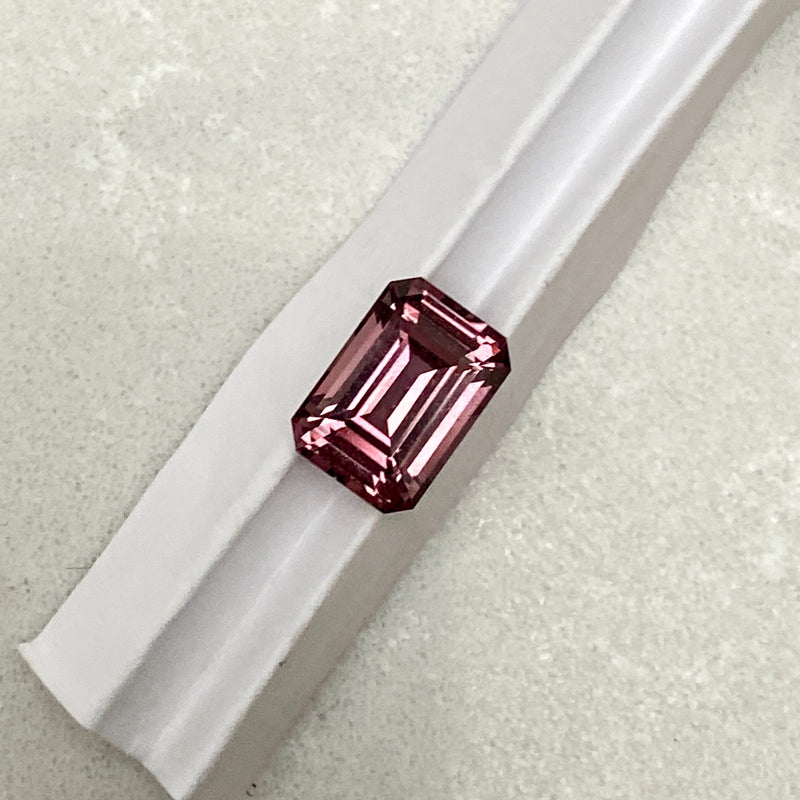 2.09 ct Wine Red Brown Emerald Cut Sapphire Unheated