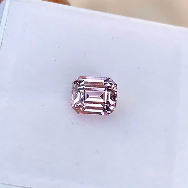 1.18 ct Champagne Pink Natural Ceylon Emerald Cut Sapphire Certified Unheated