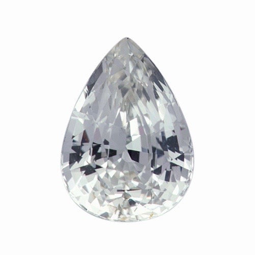 2.28 ct Pear White Natural Sapphire Unheated Certified