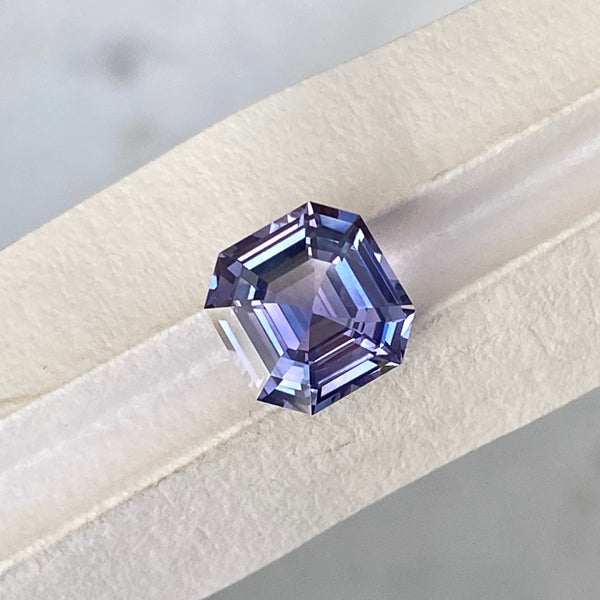 2.05 ct Violet Sapphire Square Emerald Cut Unheated Ceylon