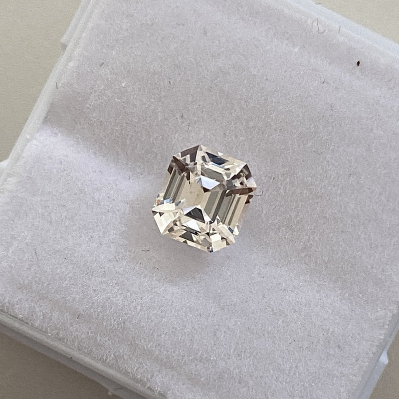 1.52 ct Emerald Cut Light Yellow Sapphire Certified Unheated