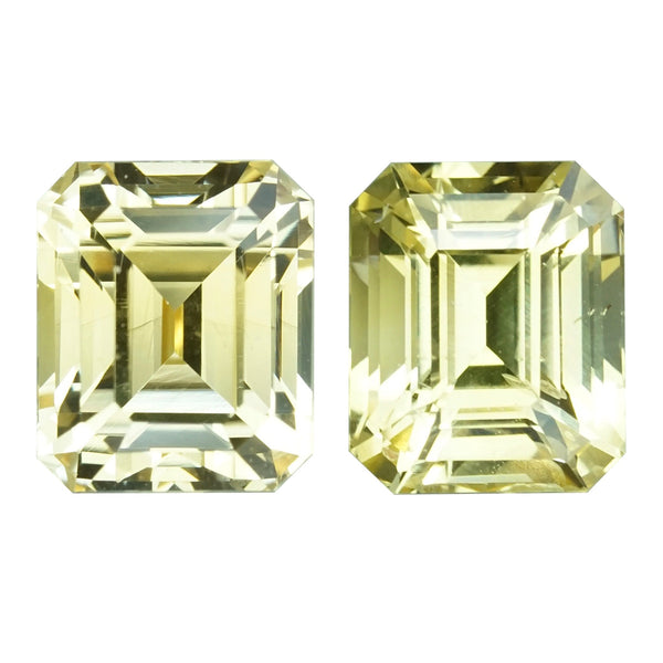 3.60 ctw Yellow Sapphire Pair Emerald Cut Unheated Ceylon
