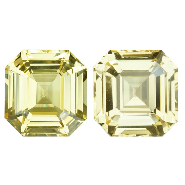 4.21 ctw Yellow Sapphire Pair Emerald Cut Unheated Ceylon