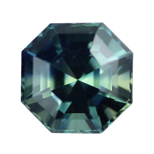 1.97 ct Blue Green Octagon Cut Natural Unheated Sapphire