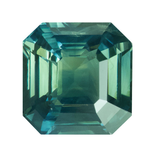 3.03 ct Square Emerald Cut Green Sapphire Certified Unheated