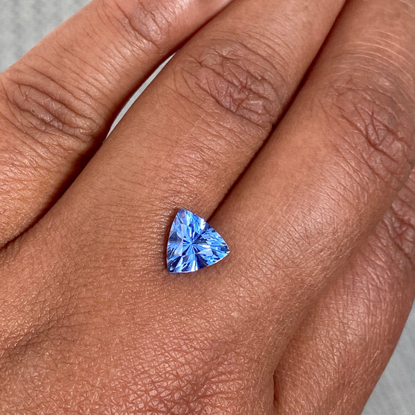 2.04 ct Trillion Cut Cornflower Blue Sapphire Unheated Sri Lanka