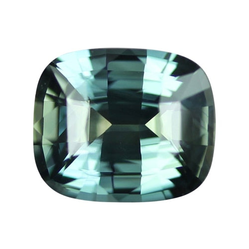 2.15 ct Cushion Blue Green Sapphire Certified Unheated