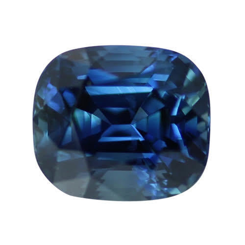 2.53 ct Greenish Blue Cushion Cut Natural Unheated Sapphire