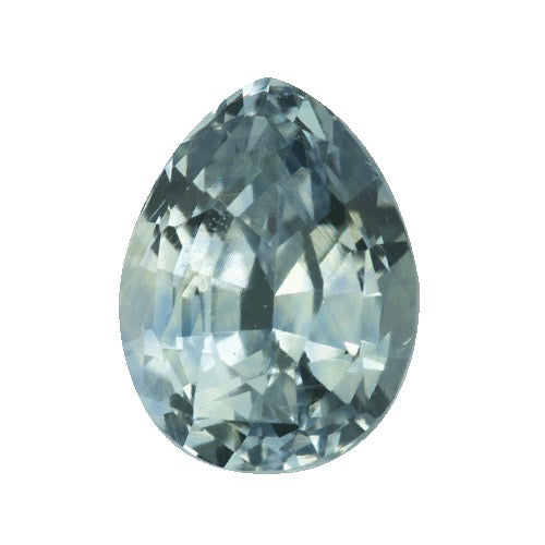 2.43 ct Pear Mint Grey Sapphire Certified Unheated