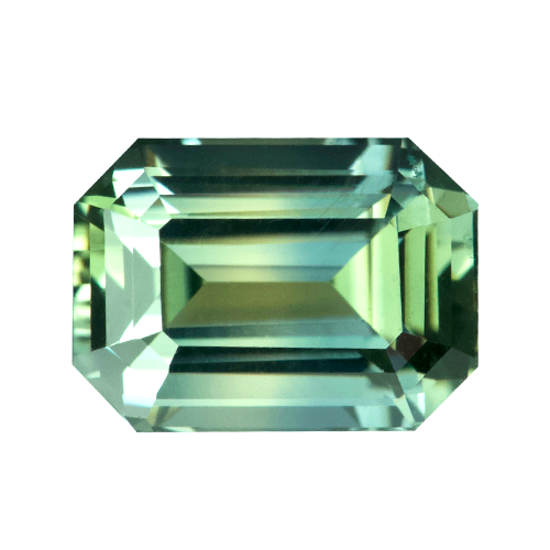 1.73 ct Emerald Cut Yellowish Green Sapphire Certified Unheated