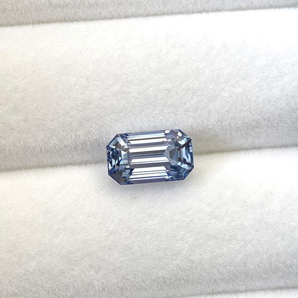 3.80 ct Steel Grey Blue Sapphire Emerald Cut Unheated Sri Lanka