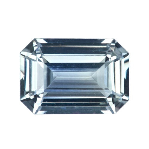 2.61 ct Light Grey Sapphire Emerald Cut Certified Unheated