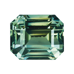2.48 ct Emerald Cut Yellowish Green Sapphire Certified Unheated