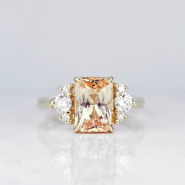 Peach Radiant Cut Sapphire Yellow Gold Engagement Ring