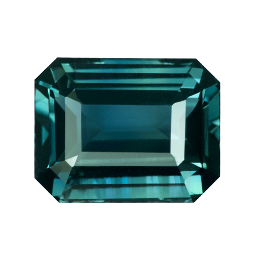 2.04 ct Emerald Cut Teal Sapphire Certified Unheated