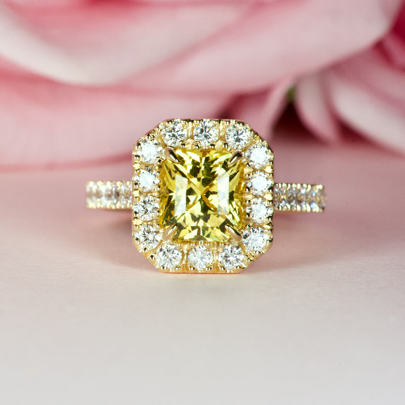 3 carat Yellow Sapphire Yellow Gold Engagement Ring