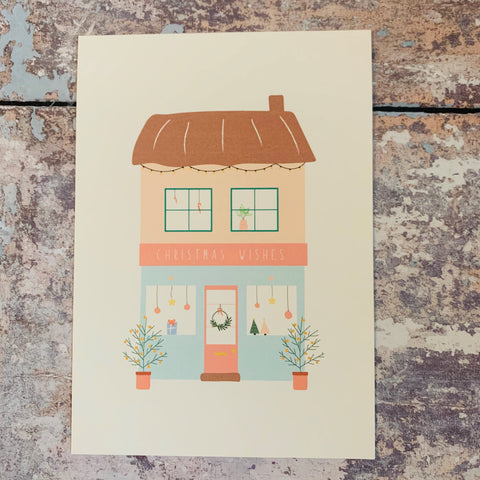 Christmas Shop Window Print - A5