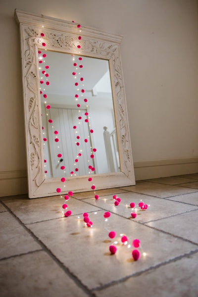 Pink and White Pom Pom Lights