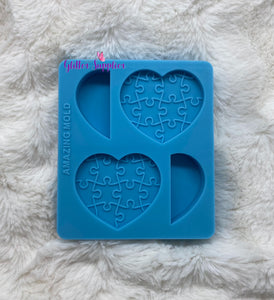 Autism Heart Straw Topper Mold