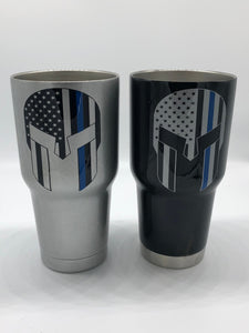 Blue Lives Matter, Thin Blue Line, Cup, Punisher Cup, Skull Cup, Police Cup, Sheriff Cup, Cop Cup, Thin Blue Line Tumbler, Tumbler, Men's Cu