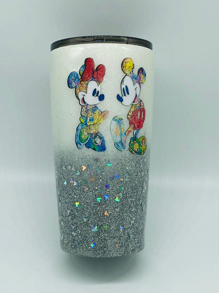Glitter Cup, Glitter Tumbler, Mickey, Mickey Mouse Cup, Disney, Disney Cup, Tumbler, Cup, Minnie, Minnie and Mickey, Character