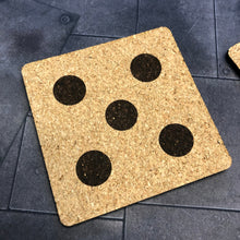 Load image into Gallery viewer, D6 Dice Tabletop Gaming Themed Cork Coaster Set