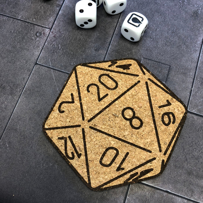 D20 Dice Tabletop Gaming Themed Cork Coaster Set
