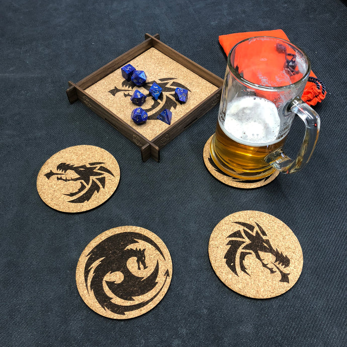Dungeons & Dragons/Fantasy Role Playing Inspired Cork Coaster Set