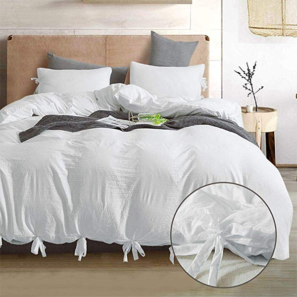 Soft Washed Cotton Bowknot Duvet Cover Set