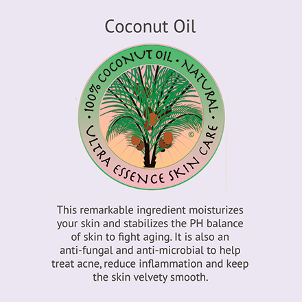 Coconut Oil | Ultra Essence natural skin care products, with anti aging benefits, are specially formulated to moisturize dry skin for radiant milky-soft skin.