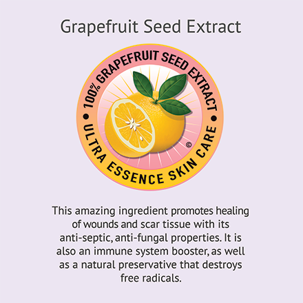Grapefruit Seed Extract | Ultra Essence natural skin care products, with anti aging benefits, are specially formulated to moisturize dry skin for radiant milky-soft skin.