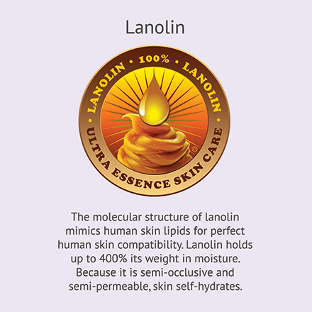 Lanolin | Ultra Essence natural skin care products, with anti aging benefits, are specially formulated to moisturize dry skin for radiant milky-soft skin.